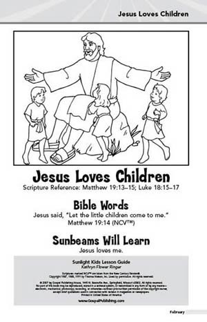 Sunlight Kids Lesson Book Jesus And The Sick Boy January